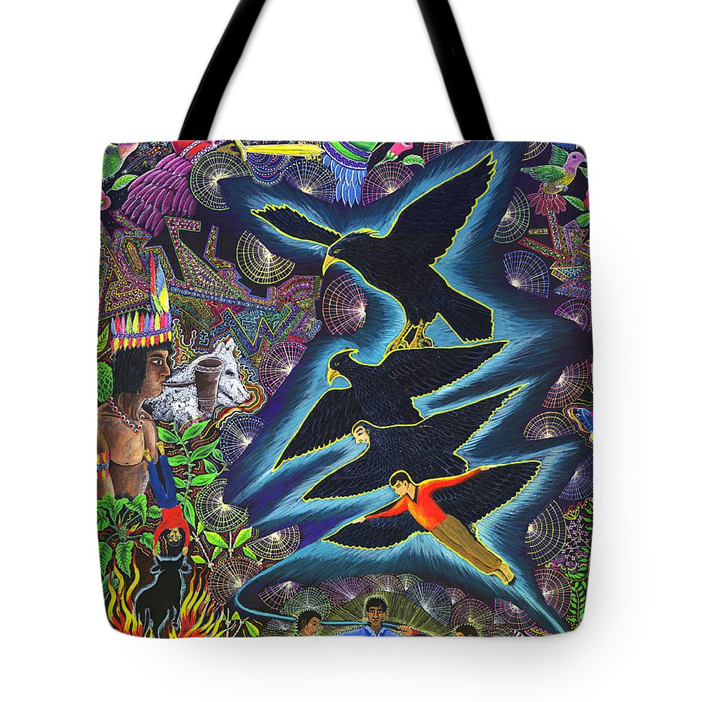 Pablo Amaringo Tote Bag featuring the painting Transformacion Del Chaman En Aguila by Pablo Amaringo