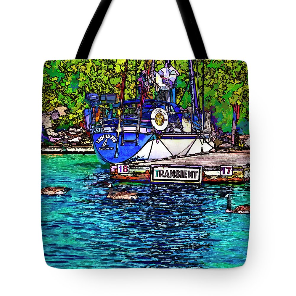 Yacht Tote Bag featuring the photograph Transients Cartoon by Steve Harrington