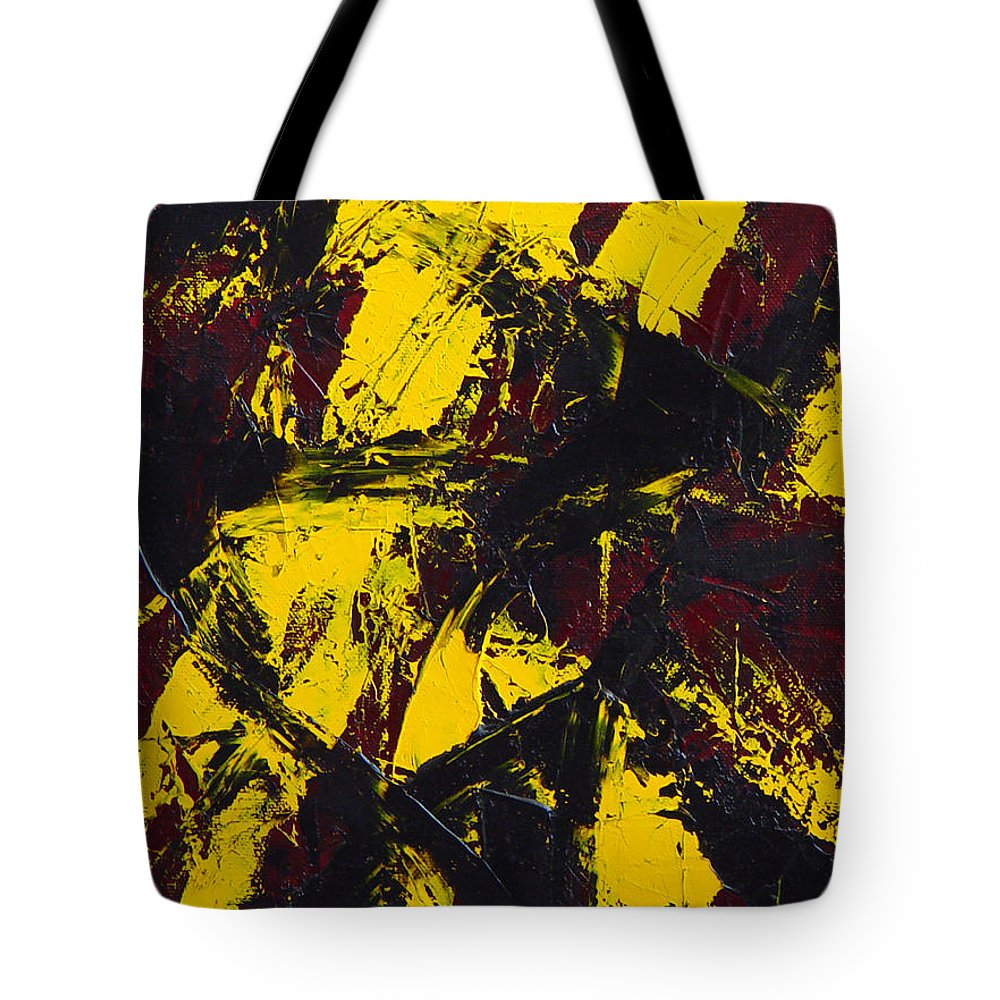 Abstract Tote Bag featuring the painting Transitions With Yelllow And Black by Dean Triolo