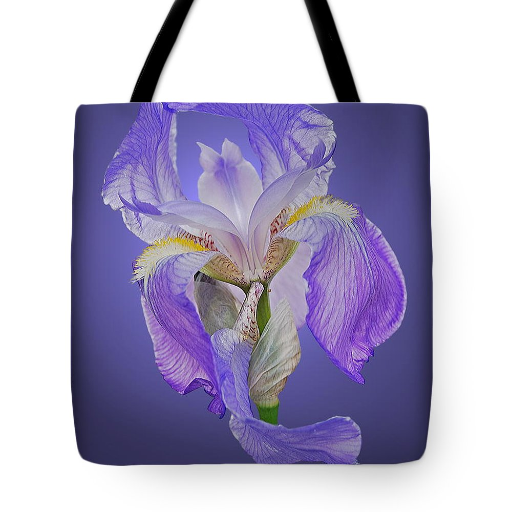 Iris Tote Bag featuring the photograph Translucent Iris by Michael Peychich
