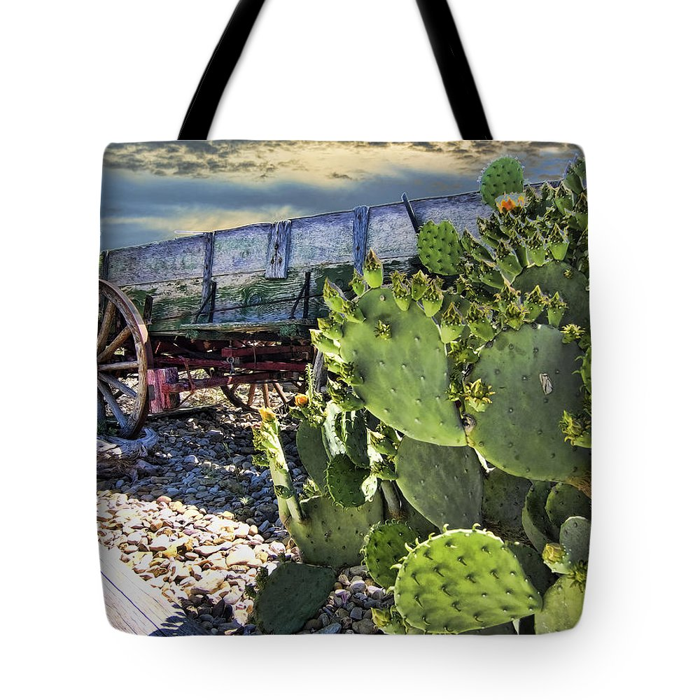 Wagon. Cactus Tote Bag featuring the photograph Transport Of A Forgotten Era by Douglas Barnard