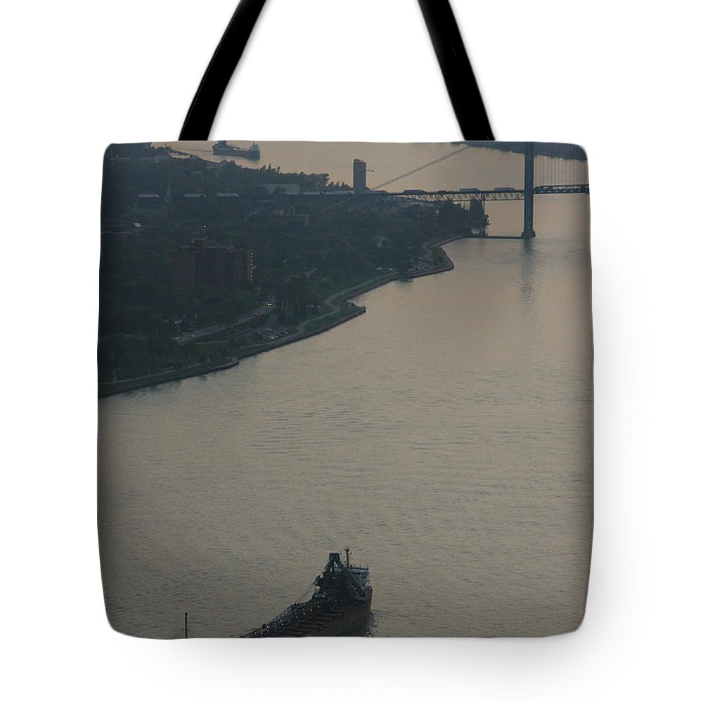 Detroit Tote Bag featuring the photograph Transport On The Waterway by Linda Shafer