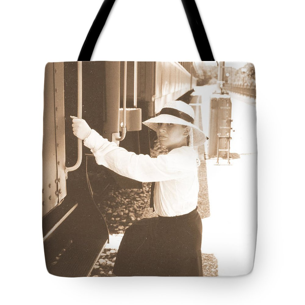 Snood Tote Bag featuring the photograph Traveling By Train - Sepia by Cindy New