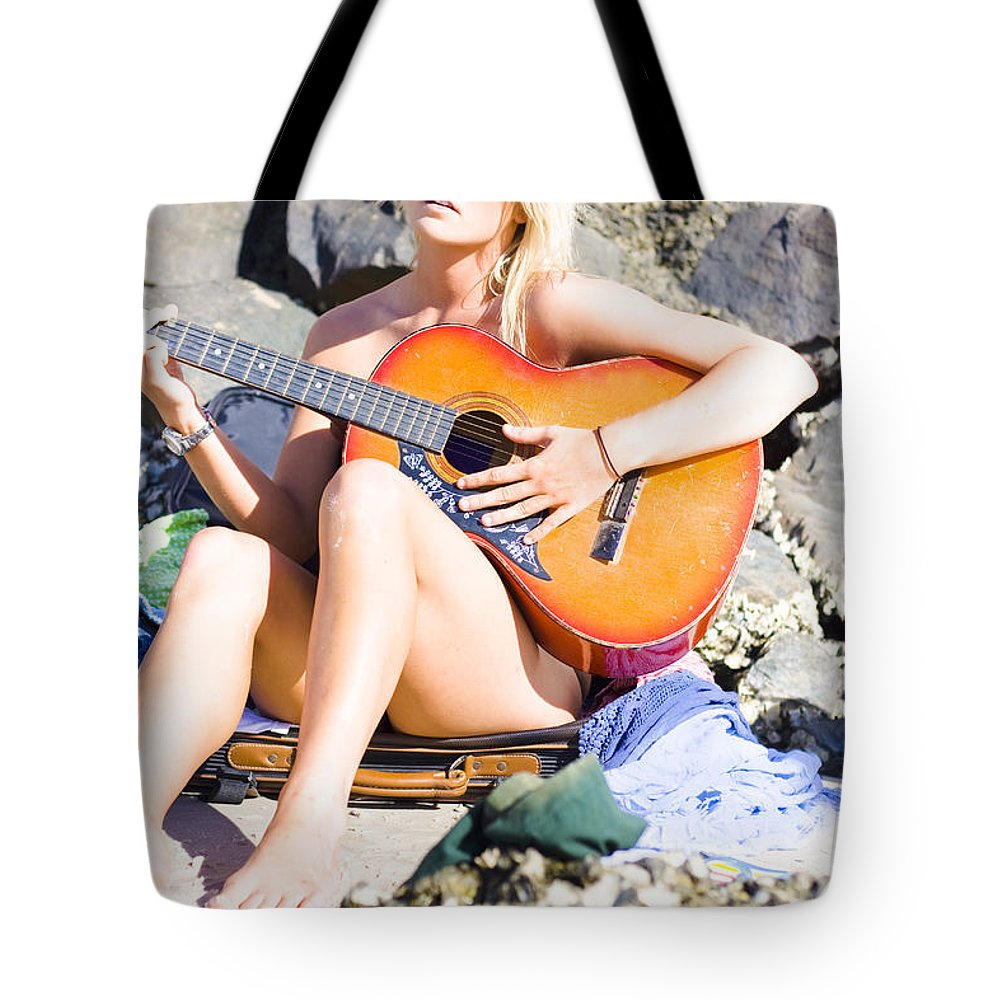 Attractive Tote Bag featuring the photograph Traveling Musician by Jorgo Photography - Wall Art Gallery