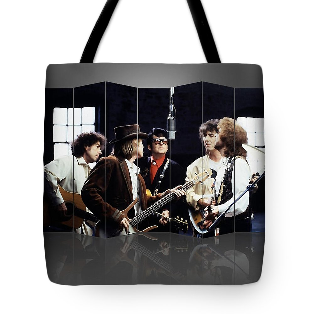 Traveling Wilburys Tote Bag featuring the mixed media Traveling Wilburys Art by Marvin Blaine