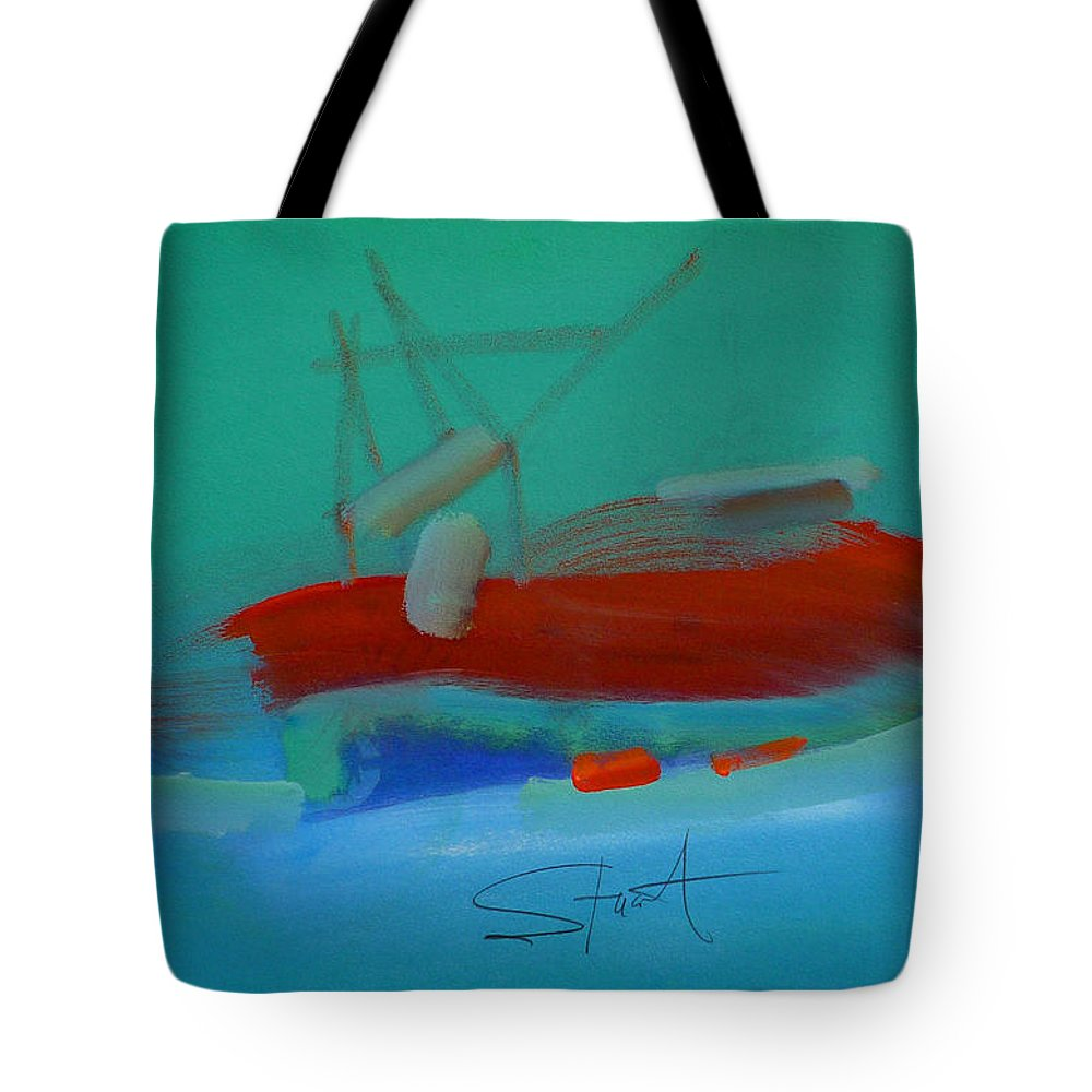 Fishing Boat Tote Bag featuring the painting Trawler by Charles Stuart