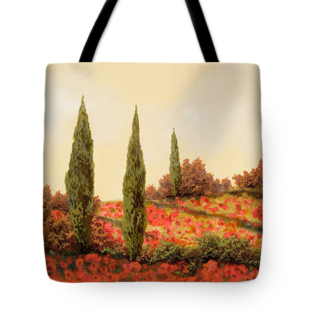 Landscape Tote Bag featuring the painting Tre Case Tra I Papaveri Rossi by Guido Borelli