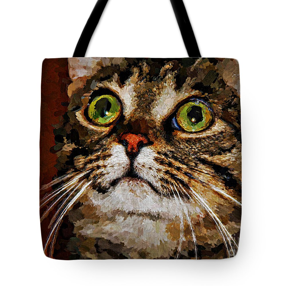 Cat Tote Bag featuring the digital art Treat Time by Jolanta Anna Karolska
