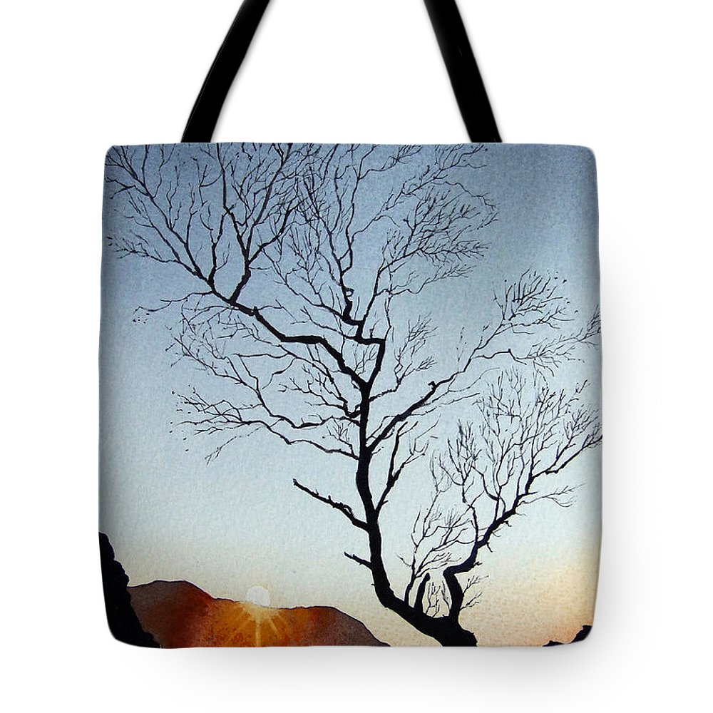 Landscape Tote Bag featuring the painting Tree Above Crummock Water by Paul Dene Marlor