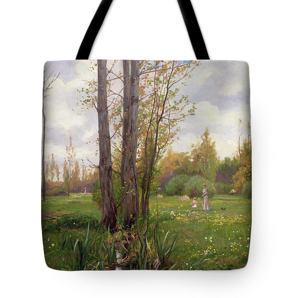 Tree Tote Bag featuring the painting Tree Beside Water by Ernest Le Villain