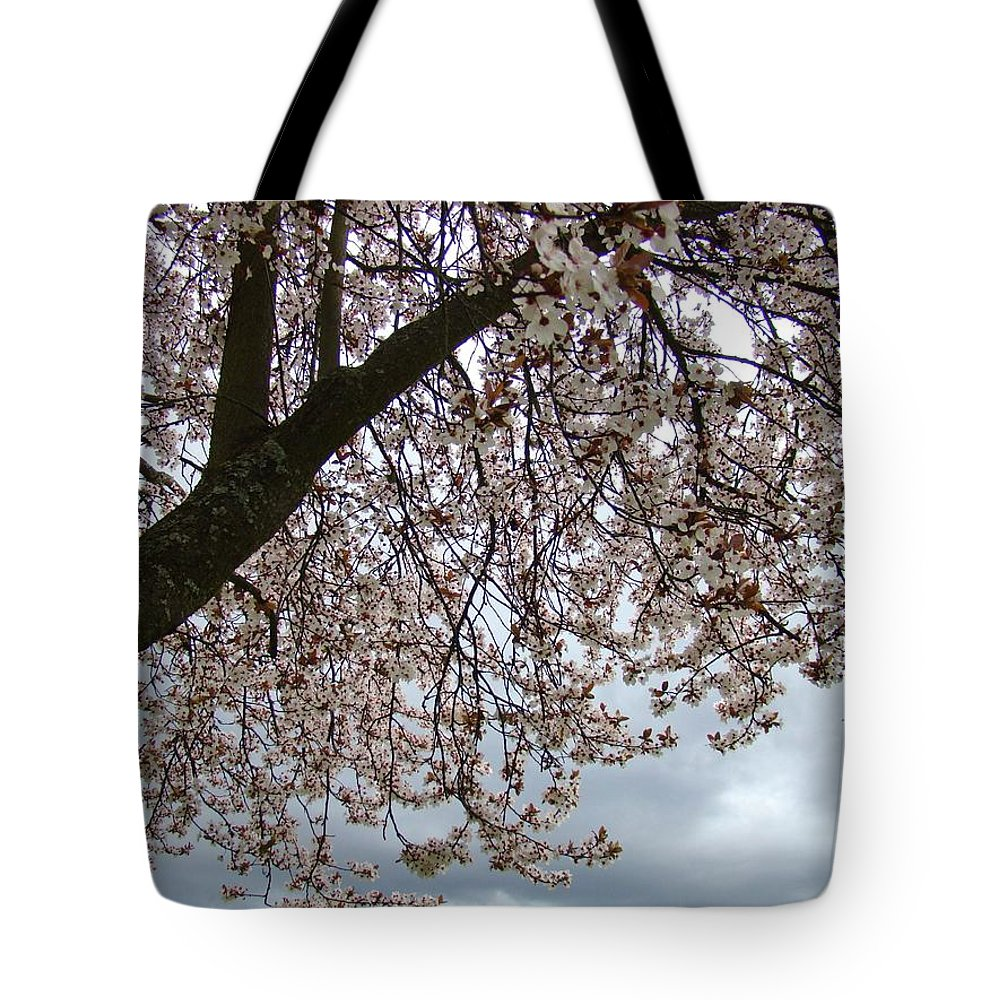 �blossoms Artwork� Tote Bag featuring the photograph Tree Blossoms Landscape 11 Spring Blossoms Art Prints Giclee Sky Storm Clouds by Baslee Troutman