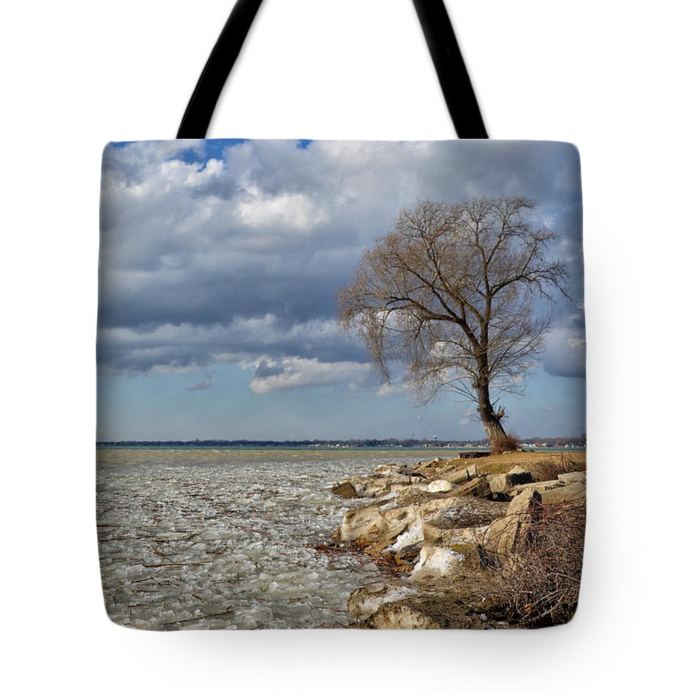Tree Tote Bag featuring the photograph Tree By Water by Barbara Treaster