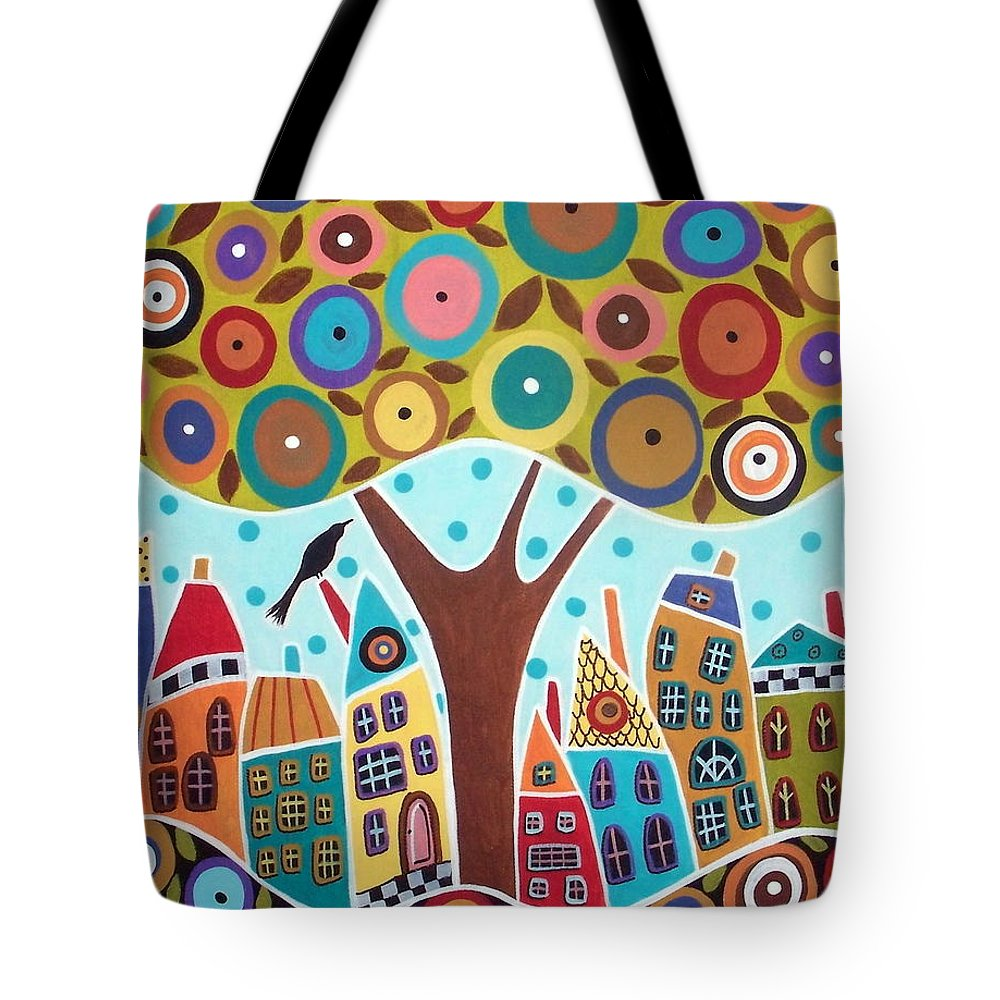 Landscape Tote Bag featuring the painting Tree Eight Houses And A Bird by Karla Gerard