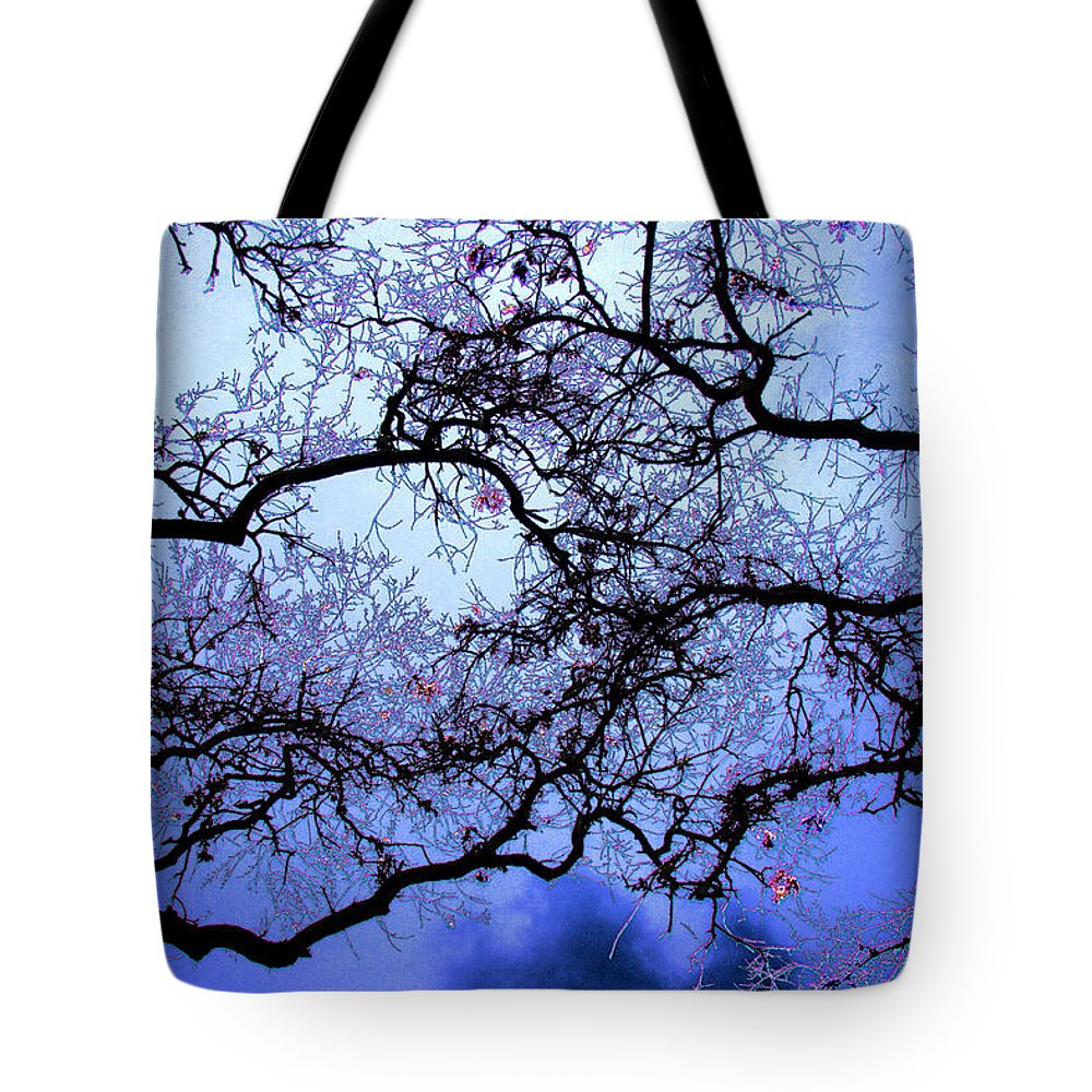 Scenic Tote Bag featuring the photograph Tree Fantasy In Blue by Lee Santa
