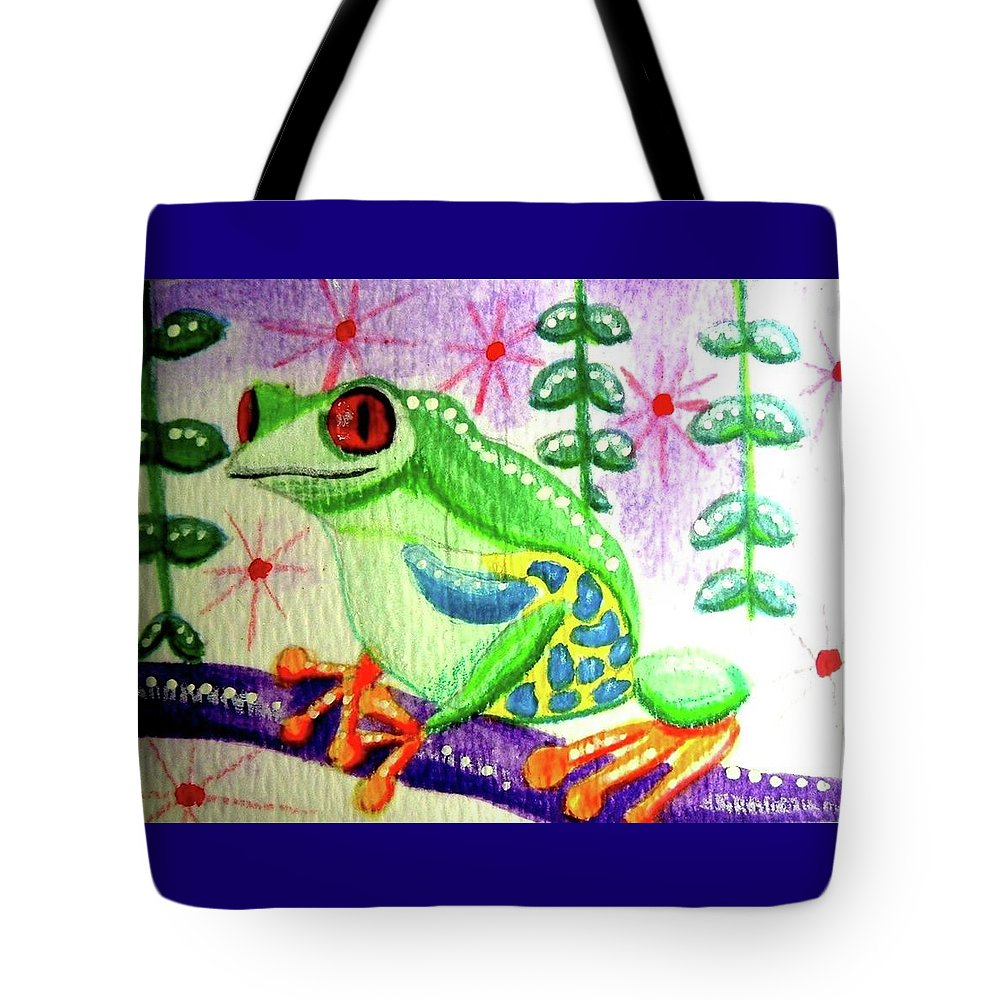 Tree Frog Tote Bag featuring the painting Tree Frog by Monica Resinger