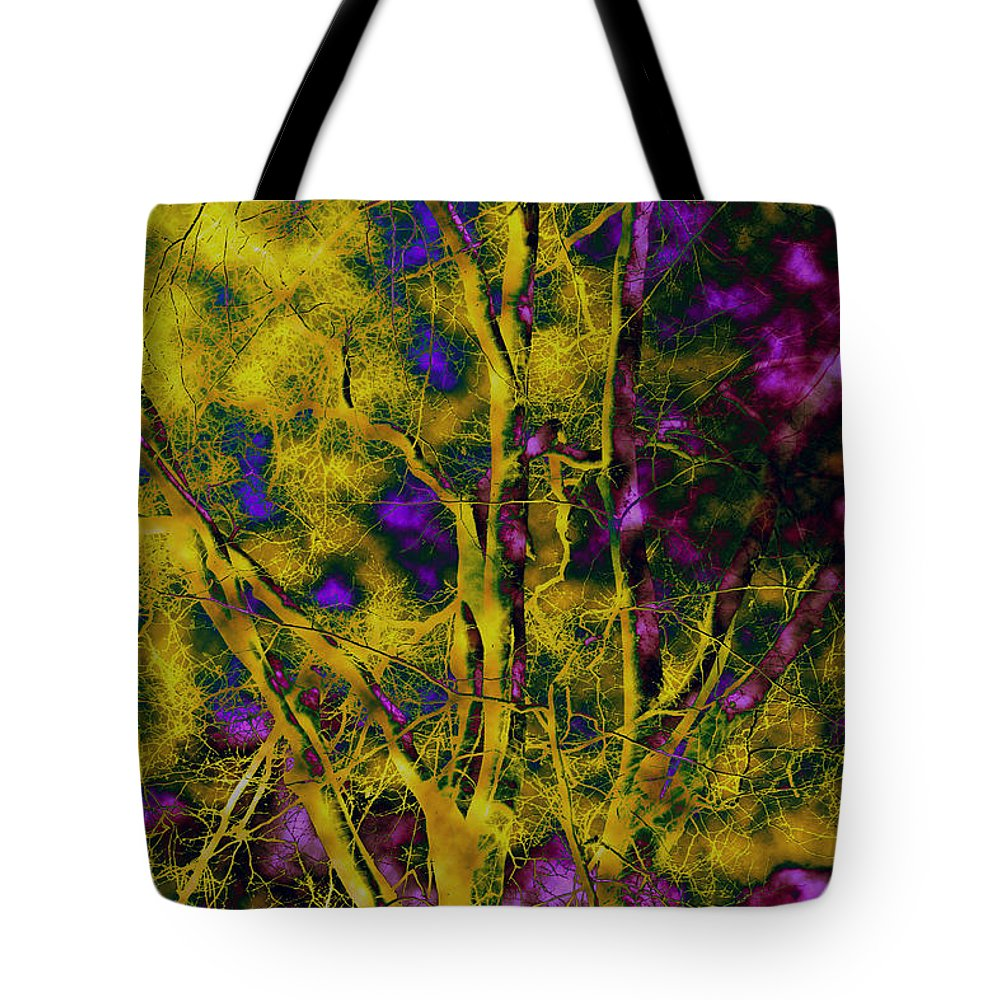 Abstract Tote Bag featuring the photograph Tree Glow by Linda Sannuti