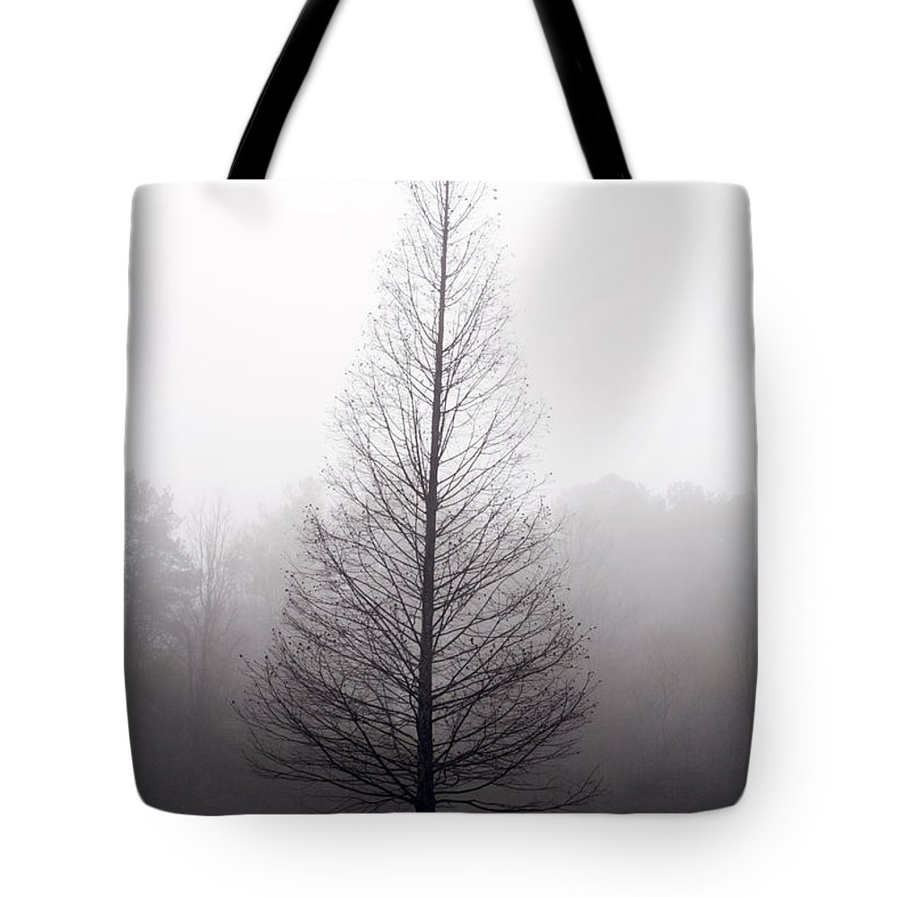 Scenic Tote Bag featuring the photograph Tree In Fog by Ayesha Lakes
