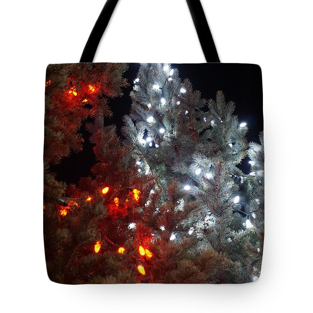 Red Tote Bag featuring the photograph Tree Lights by Susan Brown