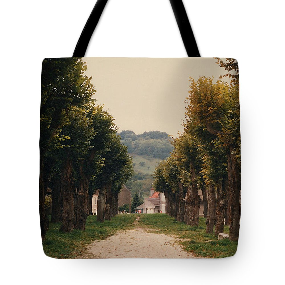 Trees Tote Bag featuring the photograph Tree Lined Pathway In Lyon France by Nancy Mueller