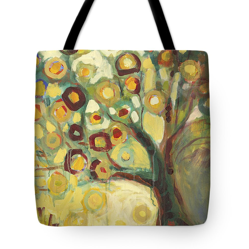 Tree Life Abstract Modern Circles Contemporary Nature Tote Bag featuring the painting Tree of Life in Autumn by Jennifer Lommers