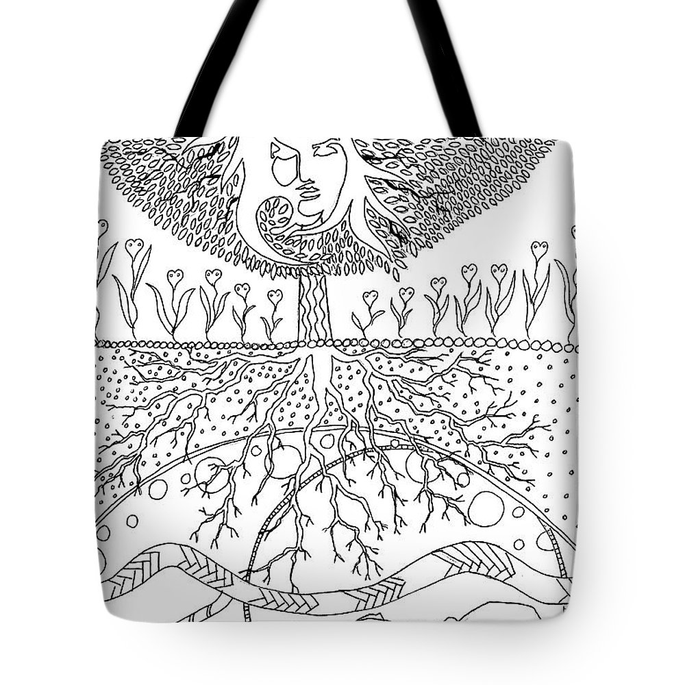 2018 Tote Bag featuring the drawing Tree Of Life by Kate Evans