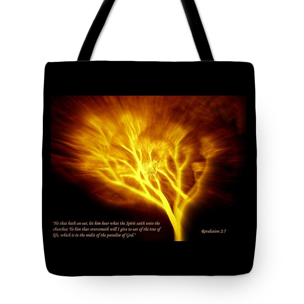 Revelation 2:7 Tote Bag featuring the mixed media Tree Of Life by Winter Frieze