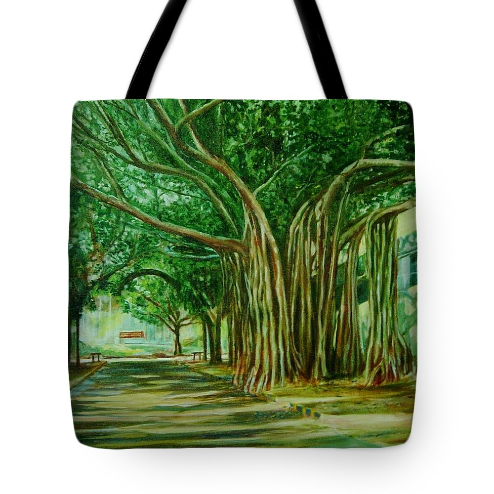 Tree Tote Bag featuring the painting Tree Old Guy by Usha Shantharam