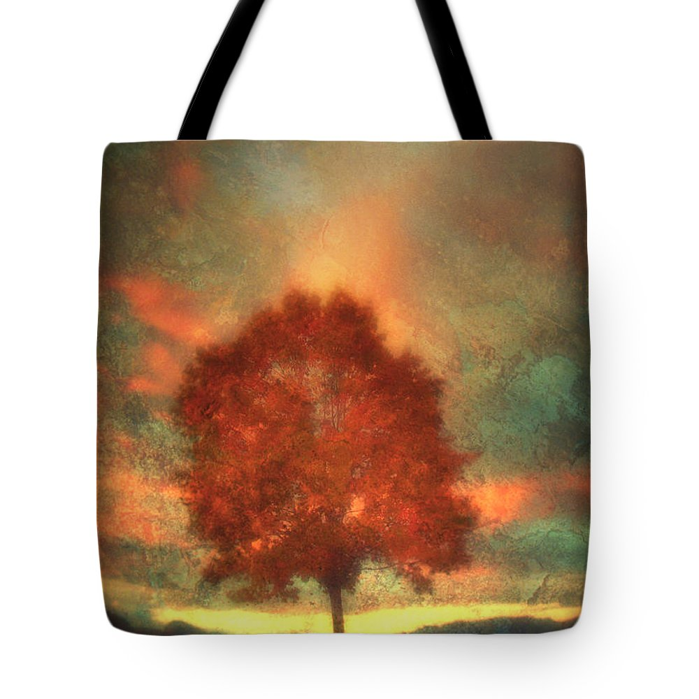 Tree Tote Bag featuring the photograph Tree On Fire by Tara Turner