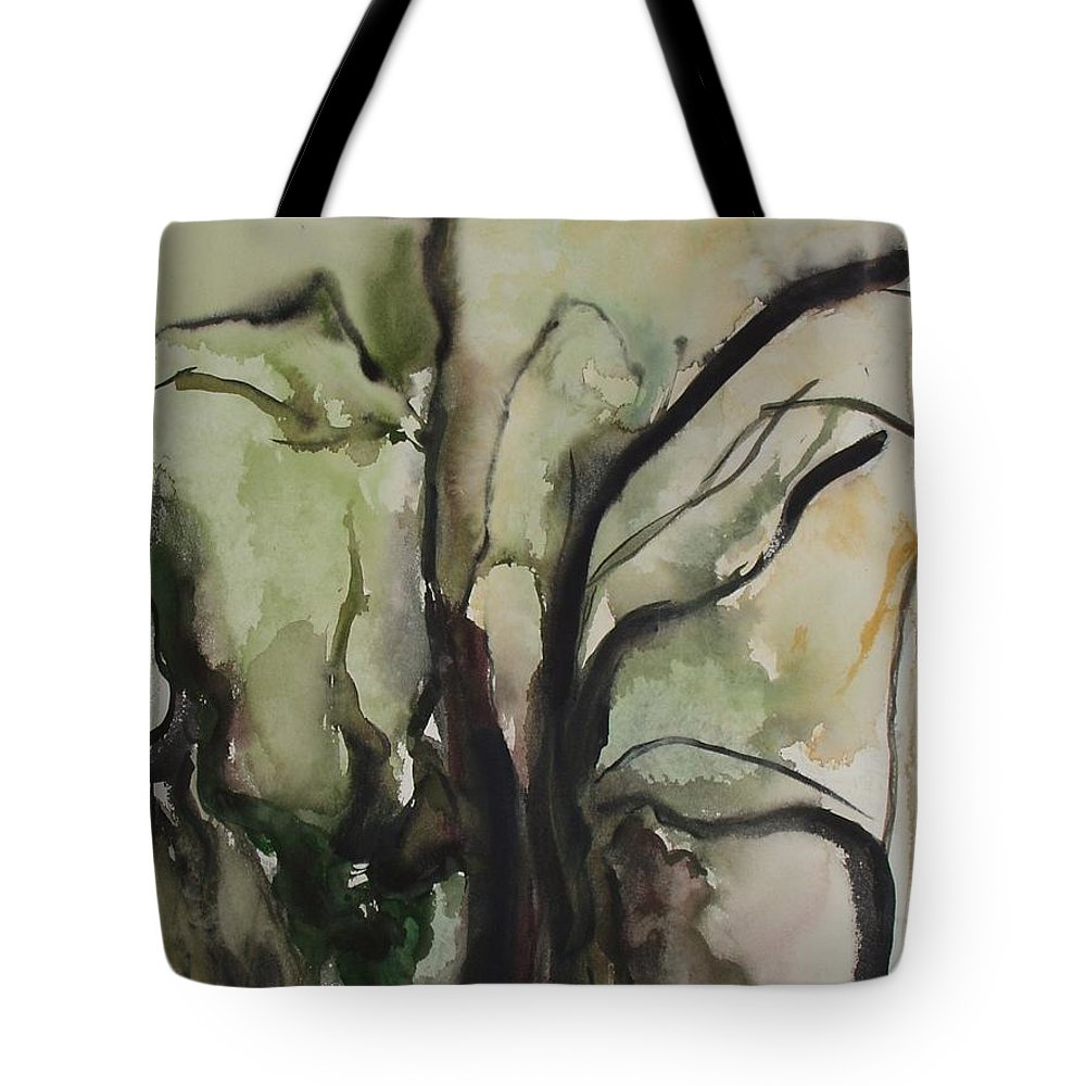 Tree Winter Abstract Original Painting Landscape Leila Atkinson Watercolor Wet On Wet Washes Trees Tote Bag featuring the painting Tree Series V by Leila Atkinson