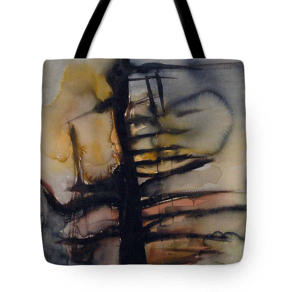 Tree Abstracted Original Watercolor Silhouette Open Branches Limbs Trees Tote Bag featuring the painting Tree Series Vi by Leila Atkinson