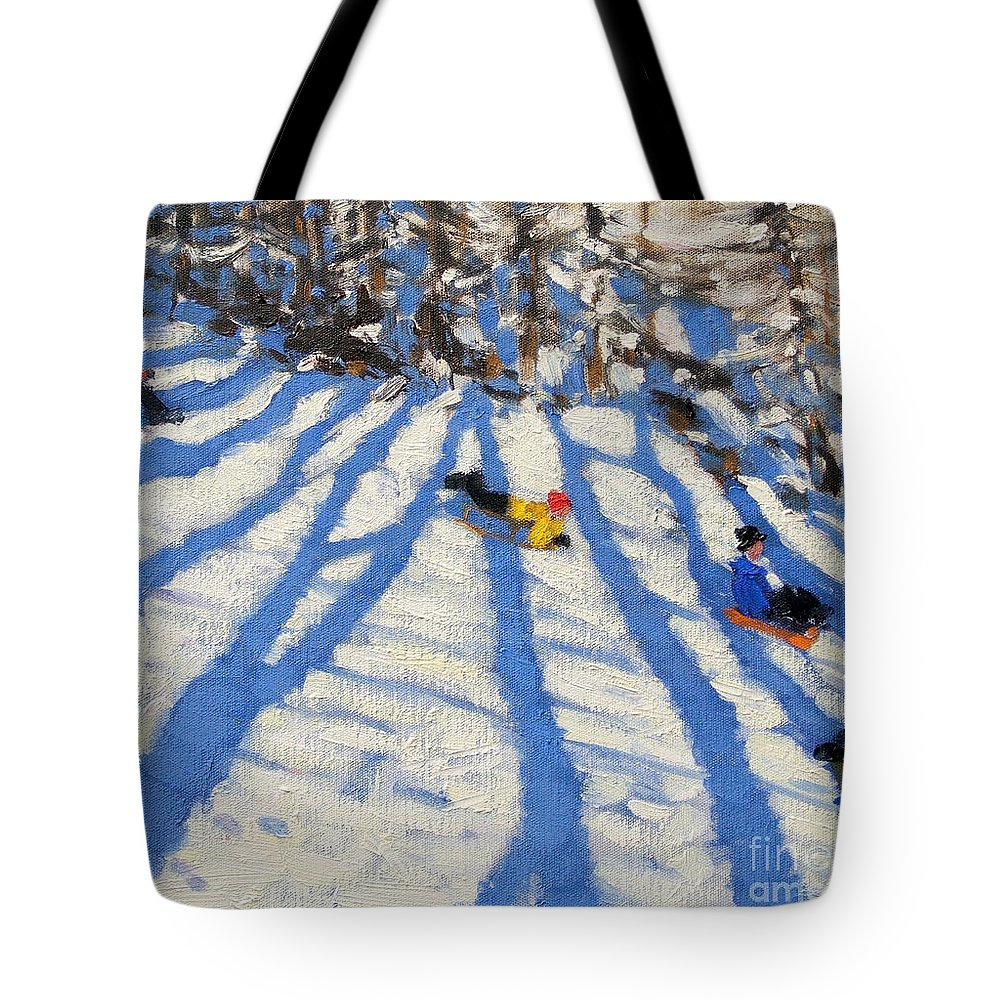 Sledging Tote Bag featuring the painting Tree Shadows Morzine by Andrew Macara