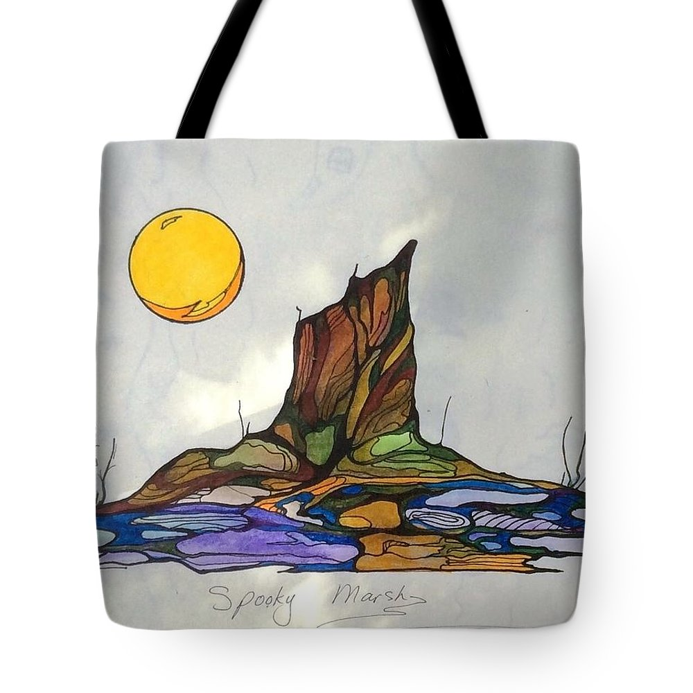 Tree Tote Bag featuring the painting Tree Stump At Spooky Marsh by Pat Purdy