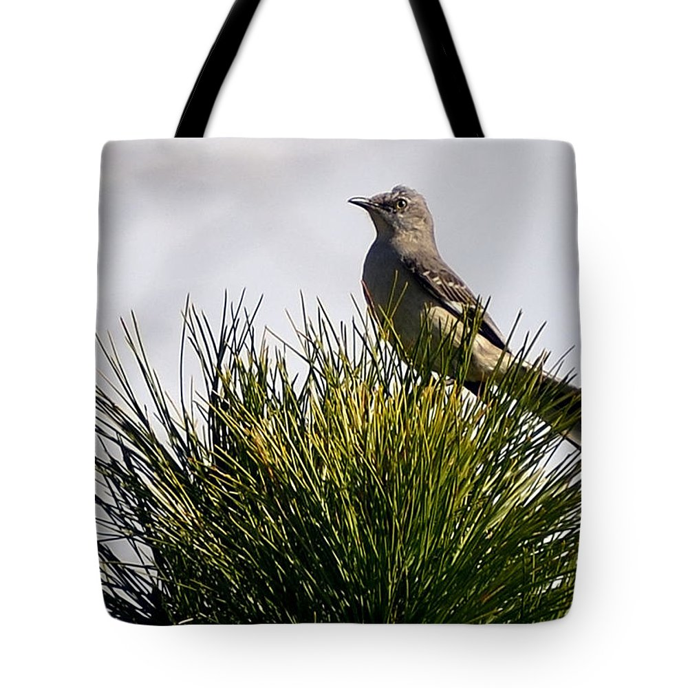 Bird Tote Bag featuring the photograph Tree Topper by Glenda Ward
