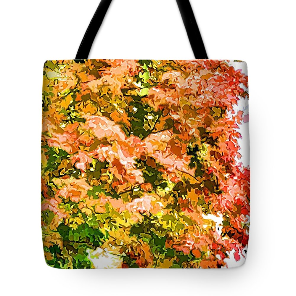 Tree With Autumn Leaves Tote Bag featuring the painting Tree With Autumn Leaves by Jeelan Clark