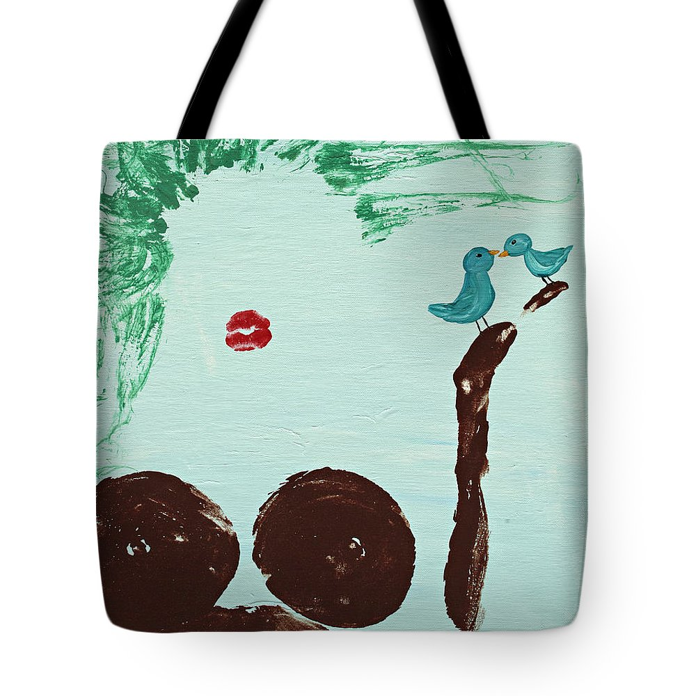 Body Prints Tote Bag featuring the painting Tree With Blue Birds by April Kasper