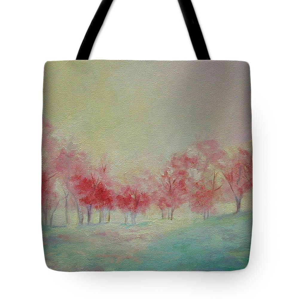 Impressionist Trees Tote Bag featuring the painting Treeline by Ginger Concepcion