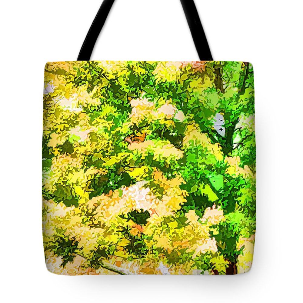 Trees And Leaves Tote Bag featuring the painting Trees And Leaves 1 by Jeelan Clark