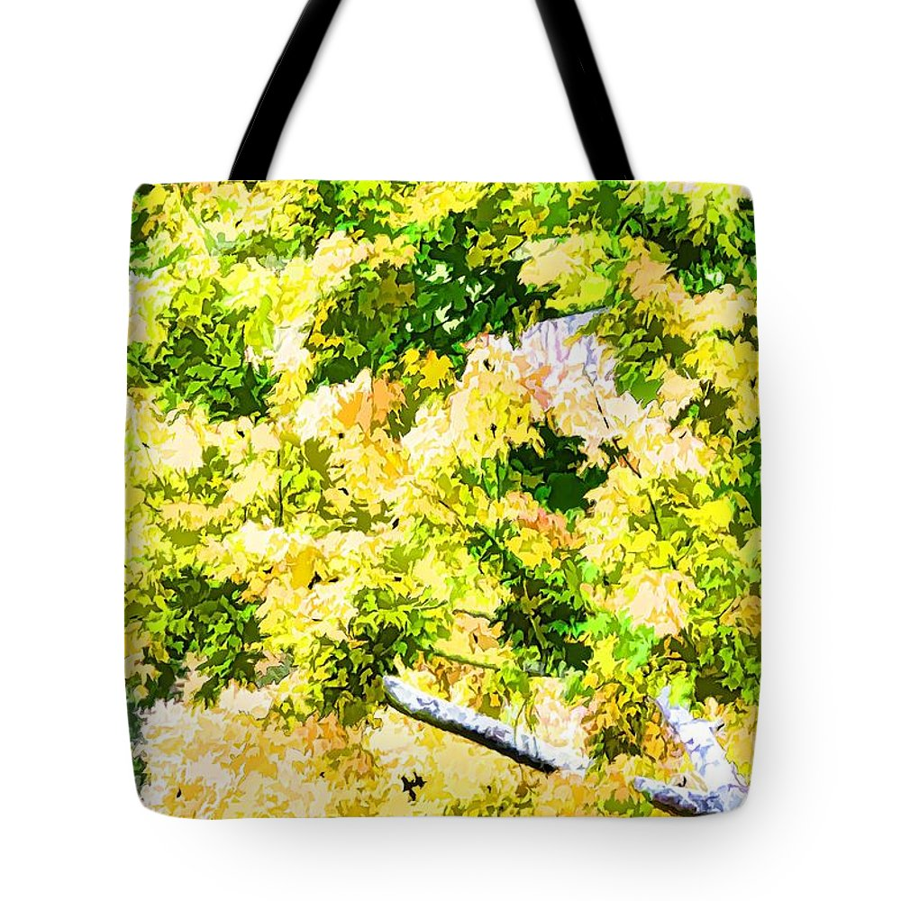 Trees And Leaves Tote Bag featuring the painting Trees And Leaves 2 by Jeelan Clark