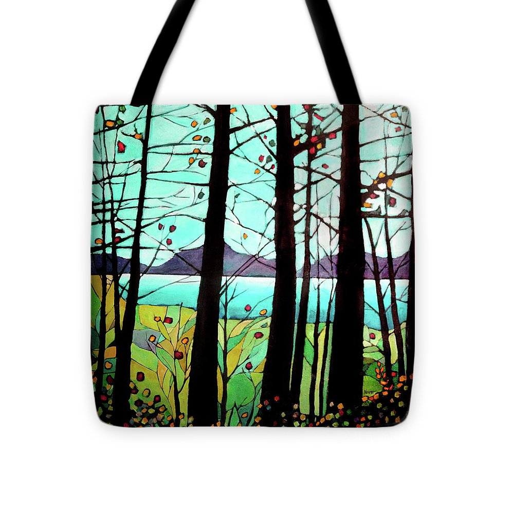 Landscape Tote Bag featuring the painting Trees In Fall by Alison Newth