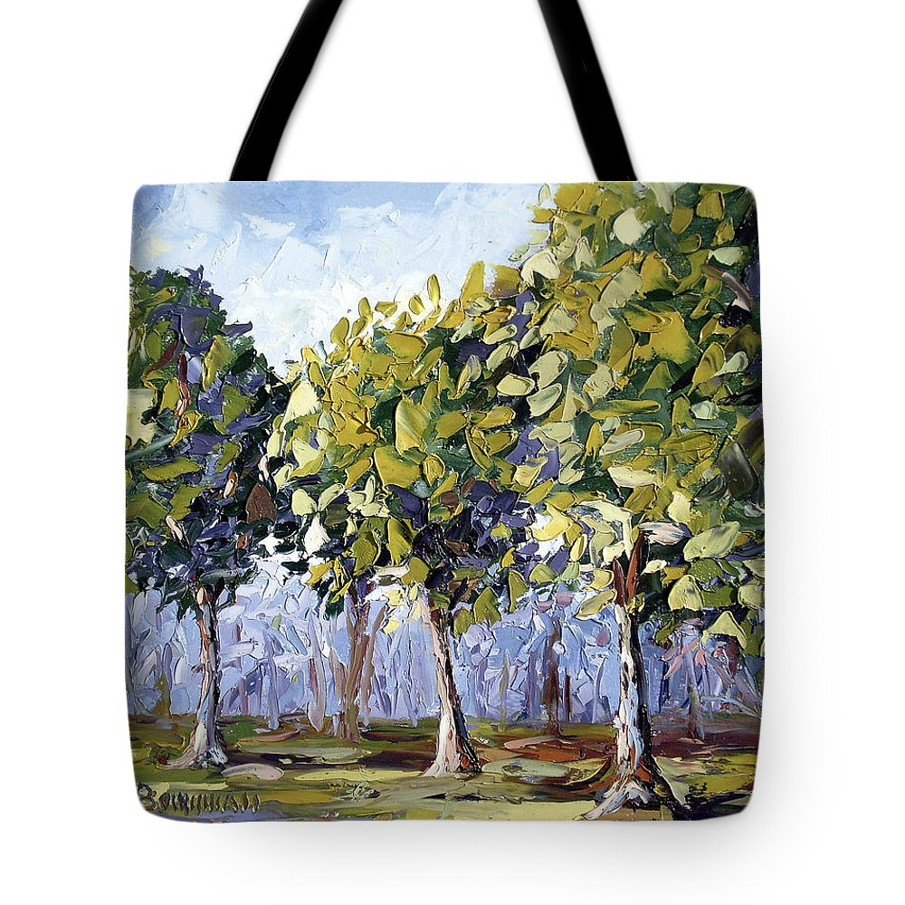 Landscape Tote Bag featuring the painting Trees by Lewis Bowman
