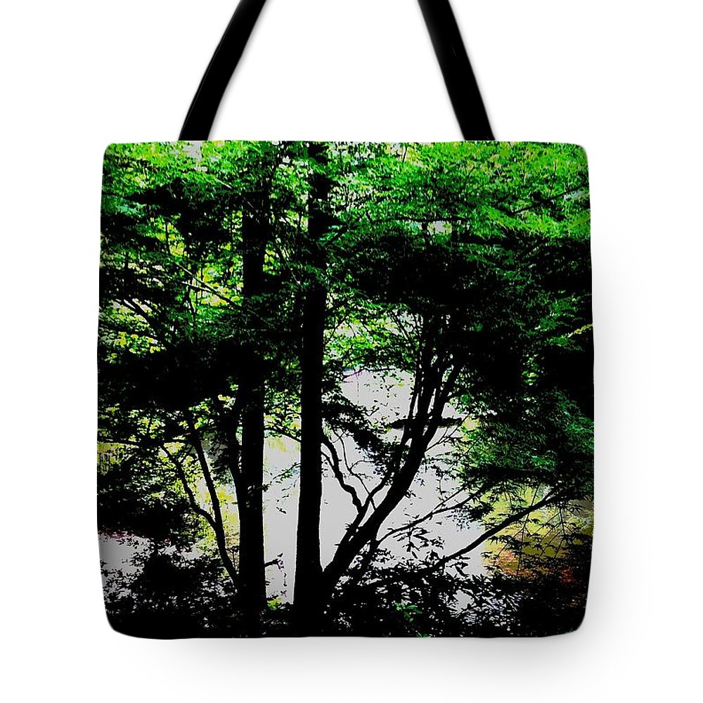 Landscape Trees Greenery Tote Bag featuring the photograph Trees Of Spring by Deb Schneider