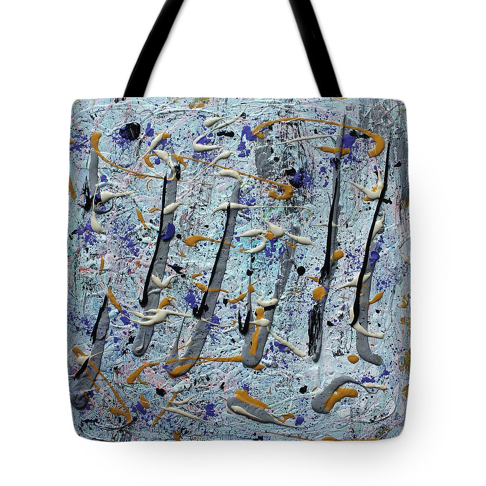 Colorado Tote Bag featuring the painting Trees Thru White Out by Pam Roth O'Mara