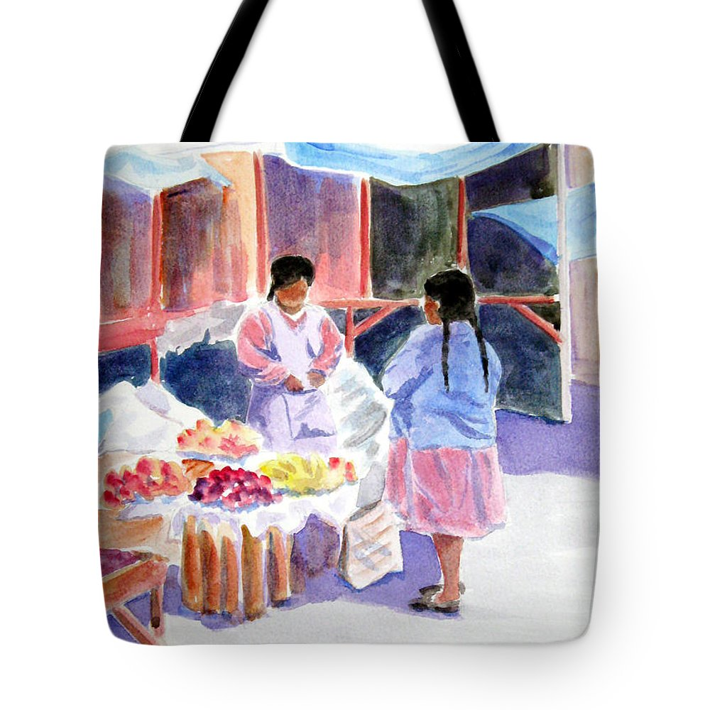 Market Tote Bag featuring the painting Tres Dolares Por Favor by Marsha Elliott
