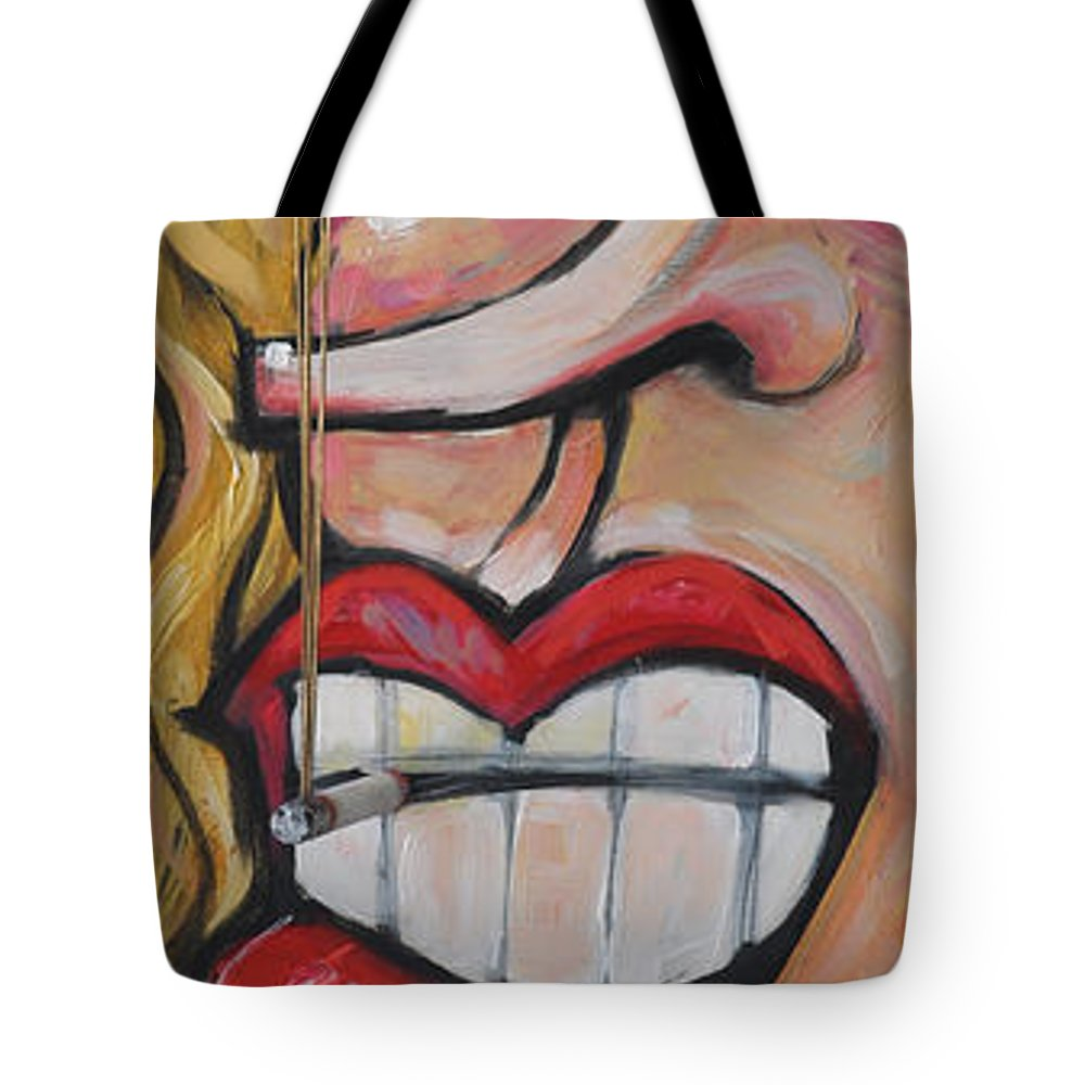 Smoke Tote Bag featuring the painting Tres Elegant by Tim Nyberg