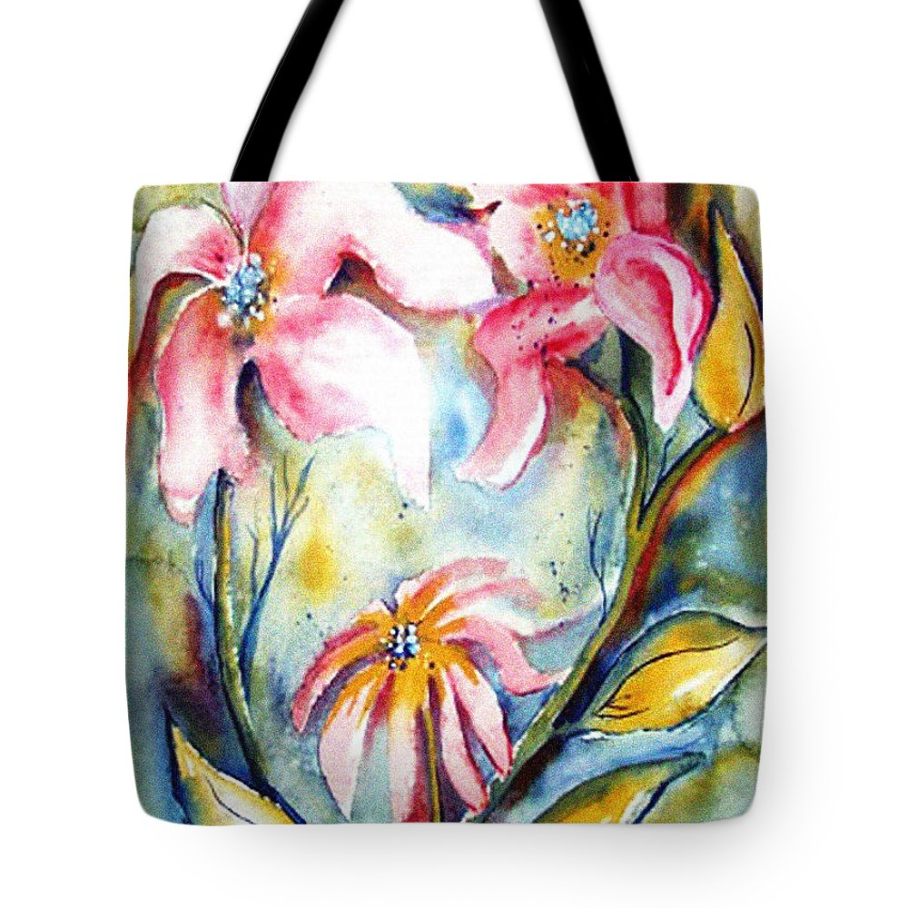 Heat Tote Bag featuring the painting Tres Fleurs In Heat by Vallee Johnson