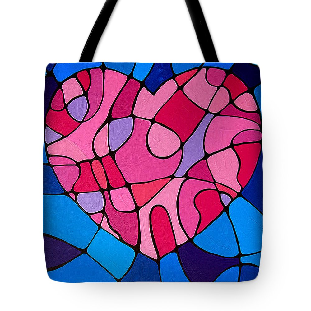 Heart Tote Bag featuring the painting Treu Love by Sharon Cummings