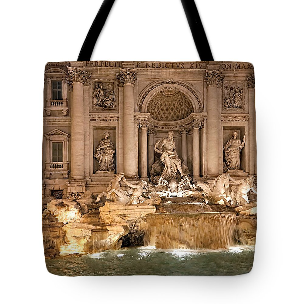 Italy Tote Bag featuring the photograph Trevi Fountain by Janet Fikar