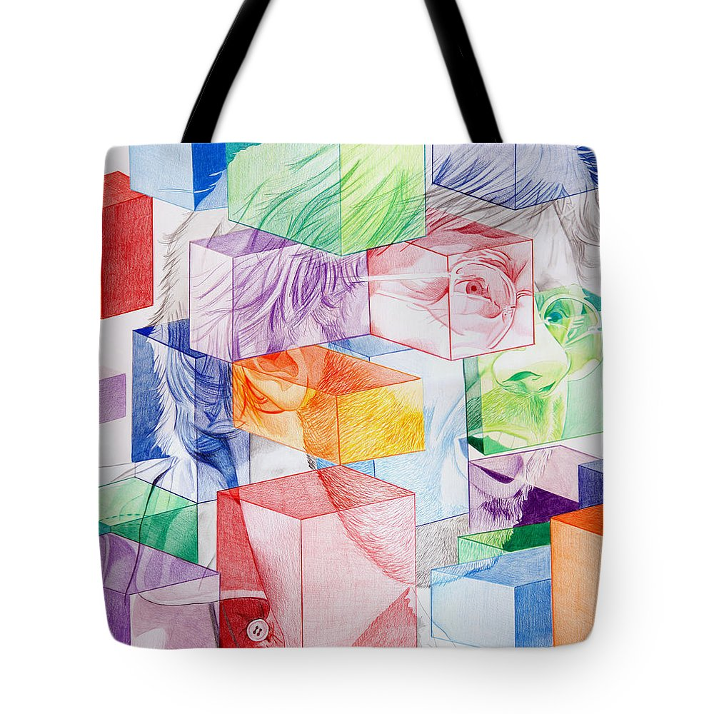 Trey Anastasio Tote Bag featuring the drawing Trey Anastasio-never Get Out Of This Maze by Joshua Morton