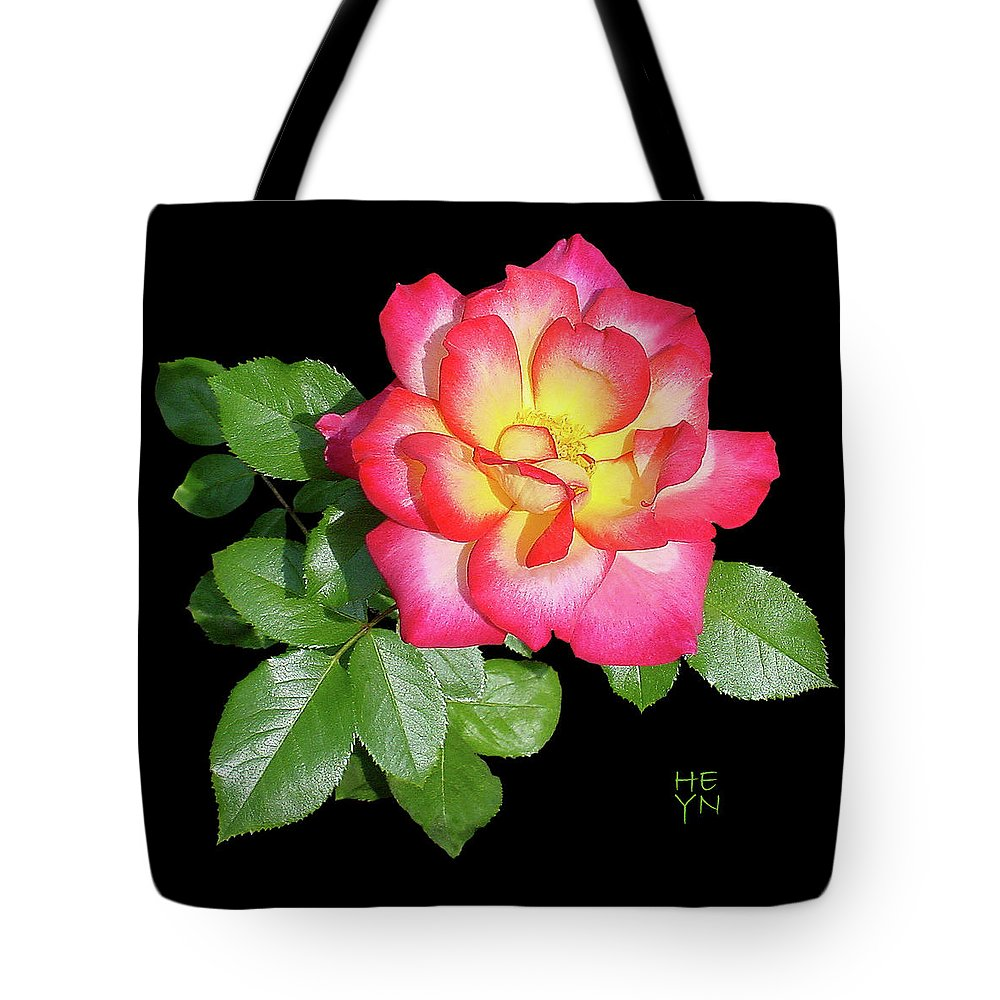 Cutout Tote Bag featuring the photograph Tri-color Pink Rose2 Cutout by Shirley Heyn