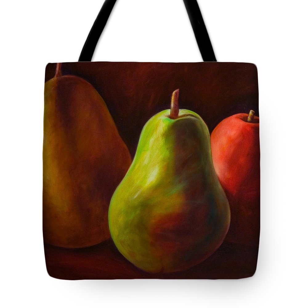 Fruit Tote Bag featuring the painting Tri Pear by Shannon Grissom